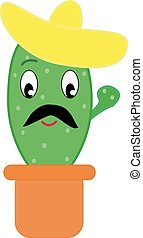 Cactus with hat, illustration, vector on white background.