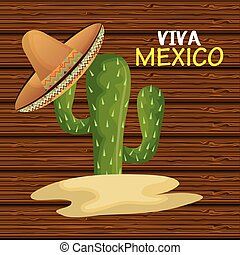 cactus with hat mexican icon design graphic