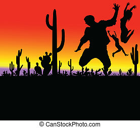 cactus with jumping people illustration