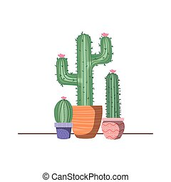 cactus with potted isolated icon