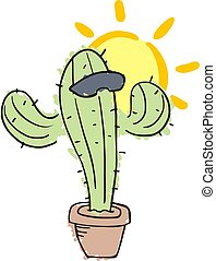 cactus with sunglasses draw