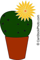 Cactus with yellow flower, illustration, vector on white background.