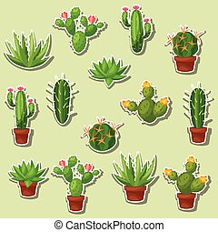Cactuses and plants abstract natural seamless pattern