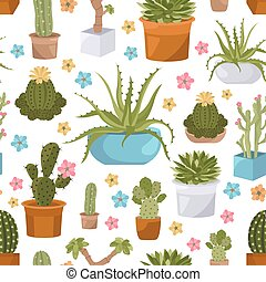Cactuses and succulents seamless pattern. Houseplants