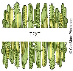 Cactuses background. Green Succulent vector hand drawn ...
