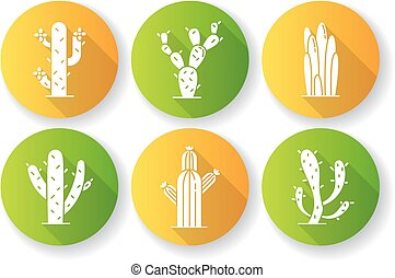 Cactuses flat design long shadow glyph icons set. American ...