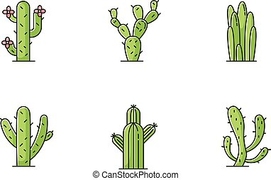 Cactuses green RGB color icons set. American desert plants ...