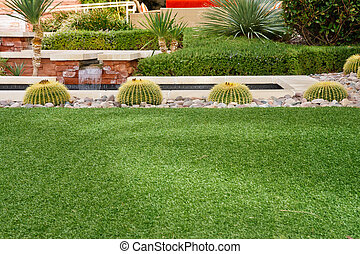 Cactuses in Garden Beyond Green Lawn