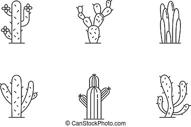 Cactuses pixel perfect linear icons set. American desert ...