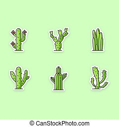 Cactuses printable patches. American desert plants with ...
