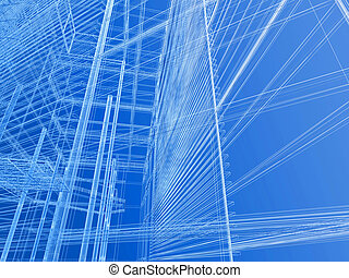 Cad background - Modern building geometry wire mesh
