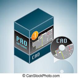 cad, -, engenharia, software, pacote