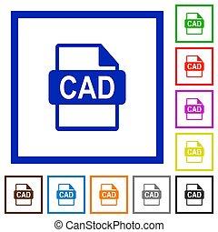CAD file format flat framed icons - CAD file format flat...