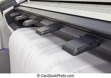 CAD Plotter - Plotter plotting a CAD drawing