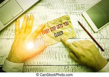 cada, alcance, closer., seu, objectives., texto, em movimento, negócio, metas, palavra, tu, conceito, mantenha, adquire, passo, escrita