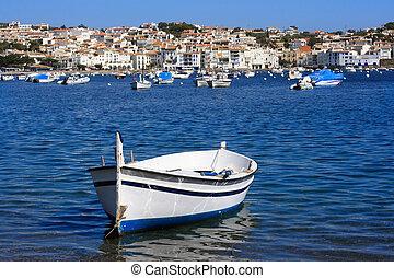 Cadaques (Costa Brava, Spain) - Old boat at Cadaques (Costa...