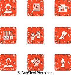 Cadastre icons set, grunge style