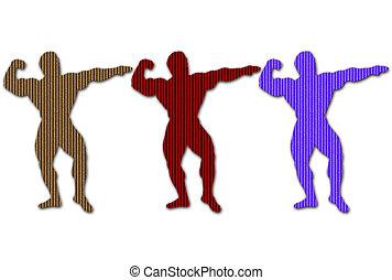 Cadboard Body Builders - Cardboard body builders silhouettes...