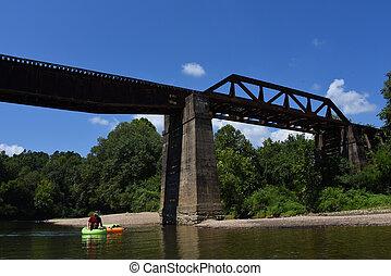Caddo River Floating Under Glenwood Railroad Bridge - ...