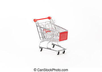 Caddy for shopping in supermarket on white background