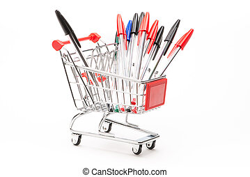 Caddy with school equipment on white background
