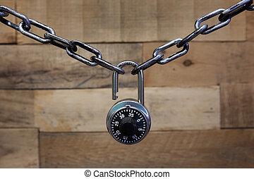 cadeado combinação, e, corrente