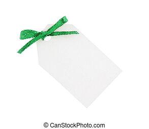 cadeau, étincelant, arc, étiquette, blanc vert