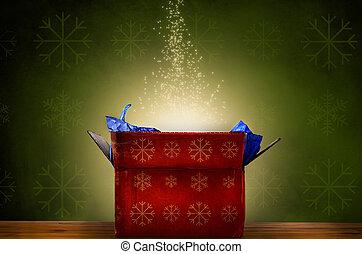 cadeau, étoiles, lueur, boîte, noël, étincelant, ouvert