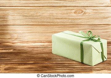 cadeau, achtergrond, houten, lint, doosje