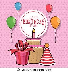 cadeau, anniversaire, conception, gâteau, ballons, heureux