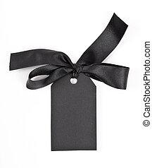 cadeau, attaché, arc, étiquette, rouge noir, ruban satin