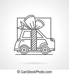 cadeau, auto, lijn, vector, pictogram