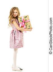 cadeau, beau, girl, robe, blond, boîte, tenue, rose, gai