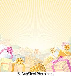 cadeau, beige, achtergrond