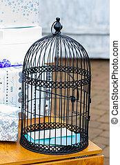cadeau, birdcage, trouwfeest, tafel, houder, kaart