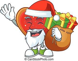 cadeau, biscuits, amour, caractère, sac, santa, dessin animé, conception
