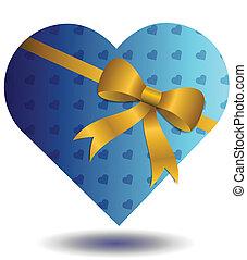 cadeau, bleu, hearted
