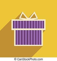 cadeau, boîte icône, long, ombre, plat