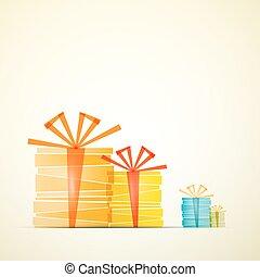 cadeau, boîtes papier, vecteur, retro, fond, transparent