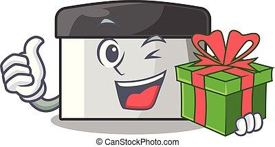 cadeau, bois, racloir, patisserie, table, mascotte
