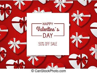 cadeau, boxes., valentin, sale., s, vecteur, fond, jour, rouges