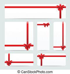 cadeau, buigingen, papier, banieren, linten, rood