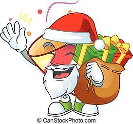 cadeau, caractère, santa, dessin animé, sac, exploser, conception, confetti