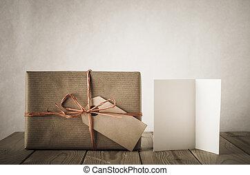 cadeau, -, carte, style, étiquette, vendange