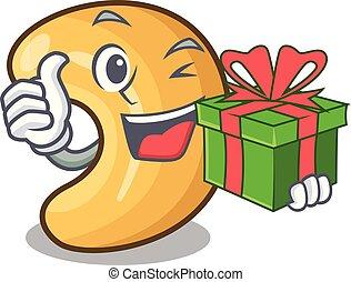 cadeau, cashew noten, warme, tafel, bakt, spotprent