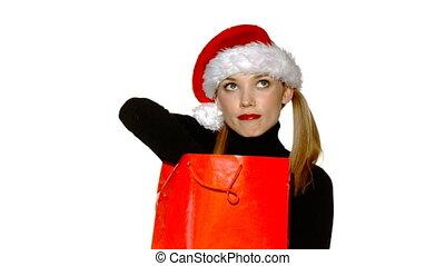 cadeau, claus, sac, santa, sexy, girl, chapeau