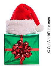 cadeau, claus, santa, emballé, chapeau, présent