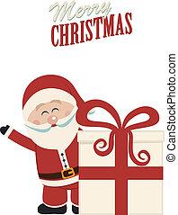 cadeau, claus, vague, derrière, santa, noël