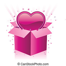 cadeau, coeur, boîte