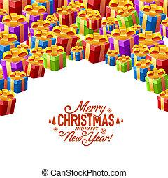 cadeau, collage, dekking, vrolijk, kerstmis.